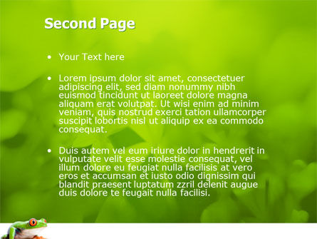 Tropical Green Frog PowerPoint Template, Slide 2, 03160, Animals and Pets — PoweredTemplate.com