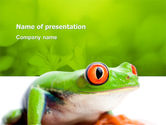 Animals and Pets: Tropical Green Frog PowerPoint Template #03160
