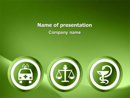 Medical: Signs Of Medicine In A Green Colors PowerPoint Template #03195