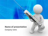 Medical: Stickman With Syringe PowerPoint Template #03199