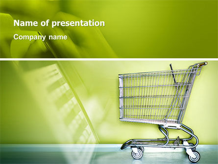 Shopping Cart On Olive Background PowerPoint Template