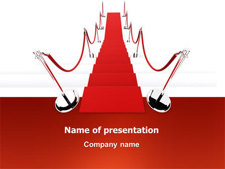 Red Carpet Path PowerPoint Template, 03221, Careers/Industry — PoweredTemplate.com