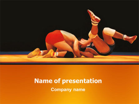 Wrestlers PowerPoint Template, 03231, Sports — PoweredTemplate.com