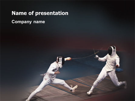 Sports: Fencing Bout PowerPoint Template #03232