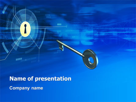 Technology and Science: Key Of Blue Door PowerPoint Template #03237