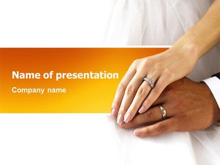 Hand In Hand In Wedding Rings PowerPoint Template
