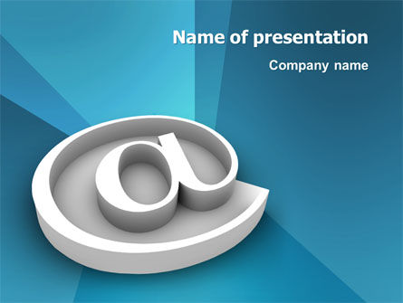 3D: At Sign PowerPoint Template #03284