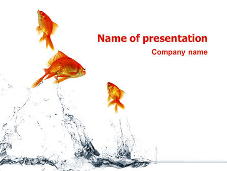 Animals and Pets: Jumping Goldfish PowerPoint Template #03286