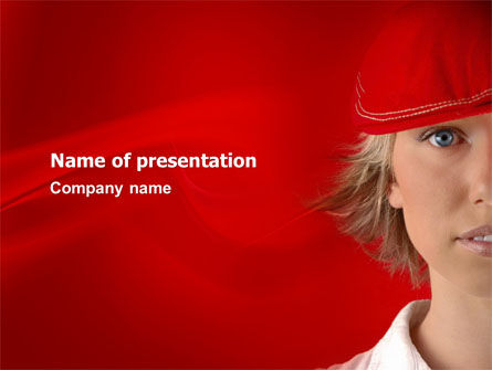 People: Lady in Red PowerPoint Template #03292