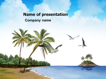 Tropic Island PowerPoint Template, 03297, Nature & Environment — PoweredTemplate.com