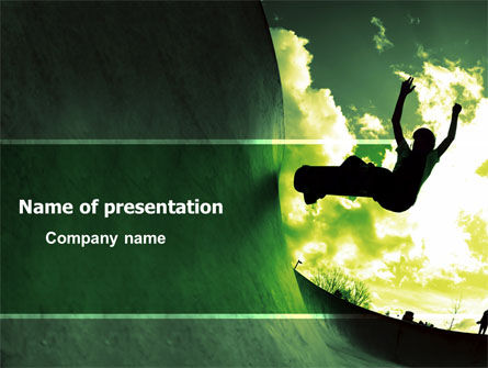 Sports: Skateboarder In A Green Colors PowerPoint Template #03310
