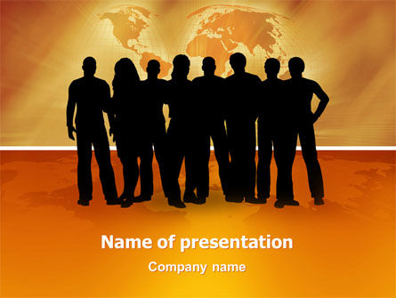 Silhouettes Of People's PowerPoint Template, 03317, Consulting — PoweredTemplate.com