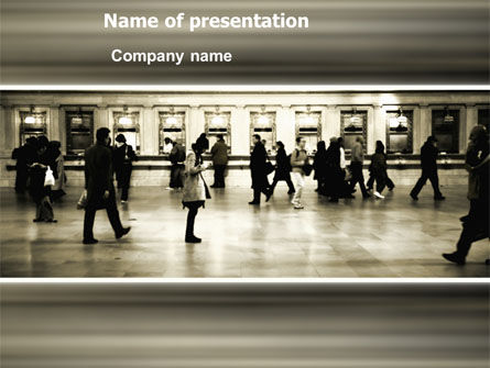Movement On Platform PowerPoint Template, 03323, People — PoweredTemplate.com