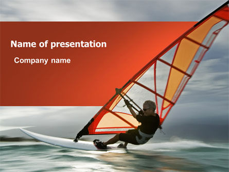 Sports: Plantilla de PowerPoint - orange windsurf en un mar gris #03325