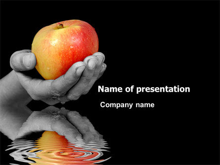 Reflection Of Apple In Hand PowerPoint Template, 03326, Business Concepts — PoweredTemplate.com