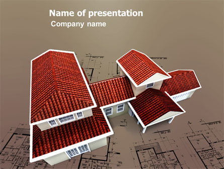Construction: Red Roof Cottage PowerPoint Template #03353