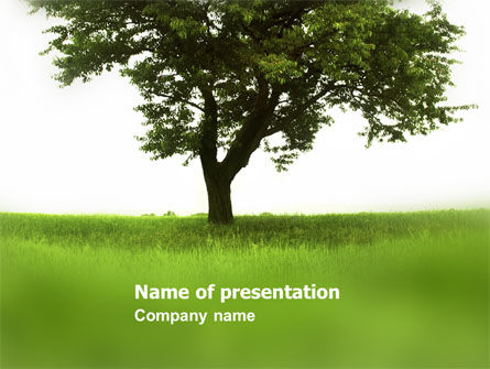 Tree On A Green Meadow PowerPoint Template
