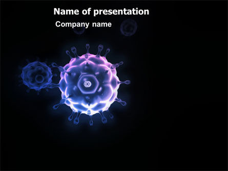 Medical: Virus In Dark Blue PowerPoint Template #03362