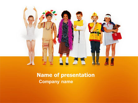 People: Children's Costumes PowerPoint Template #03366