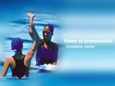 People: Winners In Swimming Pool PowerPoint Template #03374