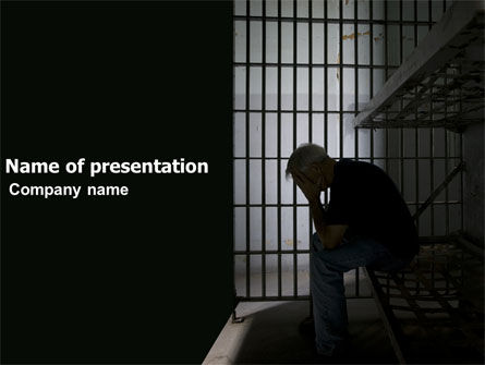 Legal: Prison Cell With Prisoner PowerPoint Template #03377