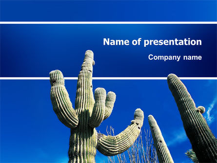 Nature & Environment: Desert Cactus PowerPoint Template #03383