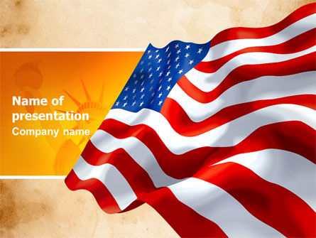 Holiday/Special Occasion: American Stars and Stripes Flag PowerPoint Template #03389