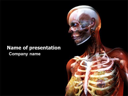 Medical: Female Anatomy Breast And Facial Bones PowerPoint Template #03404