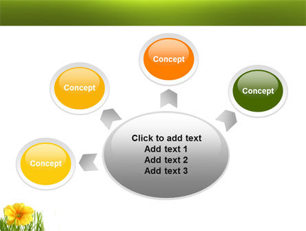 Yellow Flower In A Green Grass PowerPoint Template Slide 7