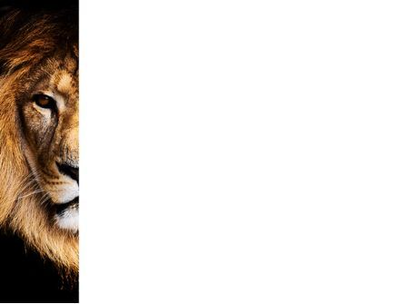 Lion With Red Mane PowerPoint Template, Slide 3, 03428, Nature & Environment — PoweredTemplate.com