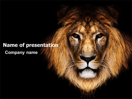 Nature & Environment: Lion With Red Mane PowerPoint Template #03428