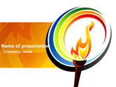 Sports: Olympic Fire PowerPoint Template #03430