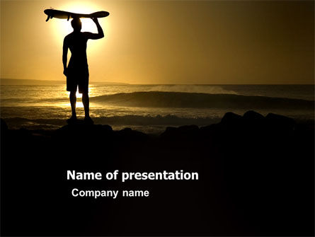 Surfer Waiting For The Wave PowerPoint Template, 03442, Sports — PoweredTemplate.com