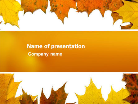 Nature & Environment: Yellow Leaves Frame PowerPoint Template #03446