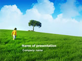 Nature & Environment: Girl On The Green Field PowerPoint Template #03453