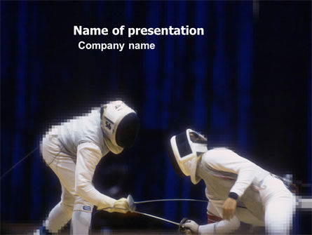 Fencing Duel Free PowerPoint Template, 03466, Sports — PoweredTemplate.com