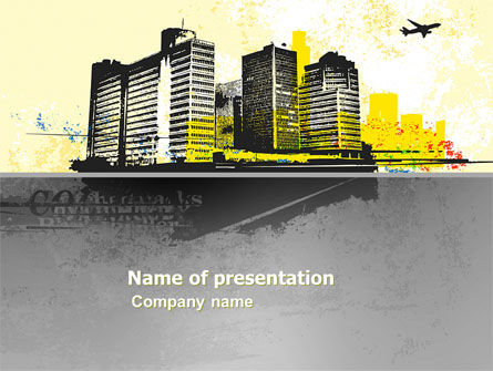 Urban Buildings PowerPoint Template, 03492, Construction — PoweredTemplate.com
