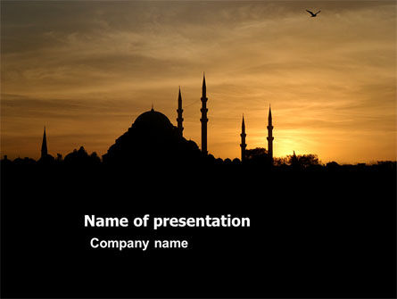Religious/Spiritual: Silhouette Of Mosque On The Sunset PowerPoint Template #03526