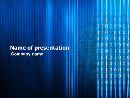 Blue Code PowerPoint Template, 03529, Technology and Science — PoweredTemplate.com