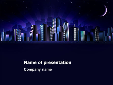 Construction: Night City PowerPoint Template #03533