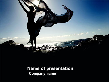 People: Woman and Ocean PowerPoint Template #03584