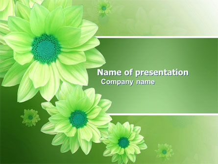 Holiday/Special Occasion: Green Flowers PowerPoint Template #03594