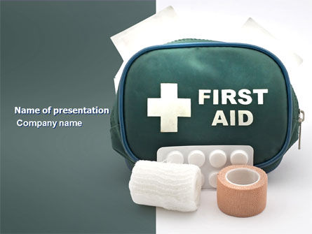 Medical: First Aid Set PowerPoint Template #03596