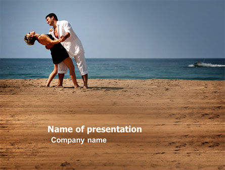 People: Couple Dancing On The Beach PowerPoint Template #03605
