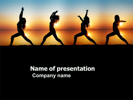 Sunset Exercises PowerPoint Template, 03624, Sports — PoweredTemplate.com