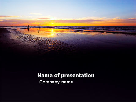 Nature & Environment: Ocean Sunset PowerPoint Template #03641