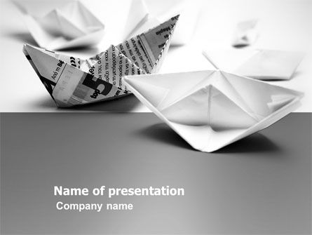 Business Concepts: Paper Ship PowerPoint Template #03650