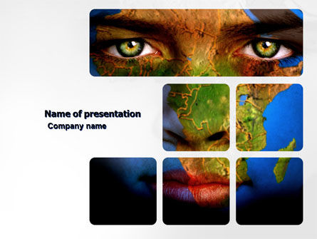 Global: Face of Earth PowerPoint Template #03663