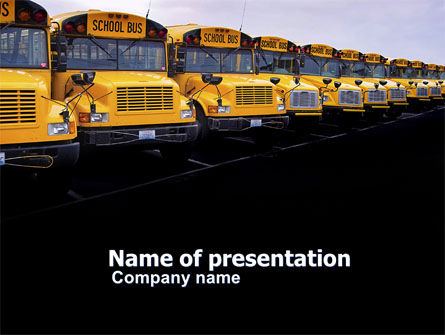 Cars and Transportation: School Bus Line PowerPoint Template #03667