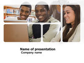 Education & Training: Students At The Computer PowerPoint Template #03668